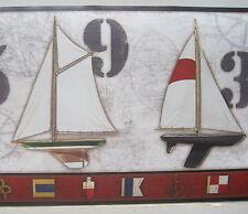 """Sailing Sailboats Seashore Boats Nautical Wallpaper Border 9"""""""