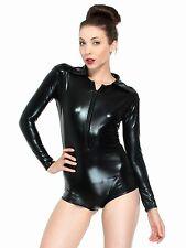 Black Sexy Lingerie Metallic Bodysuit Dancewear Romper Jump Suit Clubwear