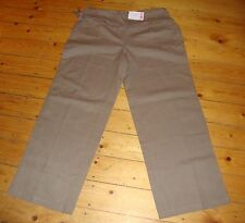 BNWT MATERNITY Taupe Linen Blend Roll Top Trousers Size 16