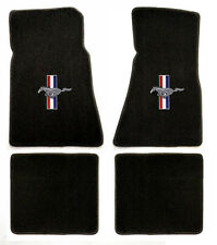 NEW! 1965-1973 Black Floor Mats Mustang Pony Bars Embroidered Logo Set of 4