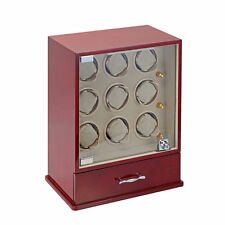 Diplomat Estate Cherry Wood 9 Nine Automatic Watch Winder Tower Cream Leather