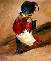 ZWPT683 100% hand painted poultry cock rooster art oil painting on canvas