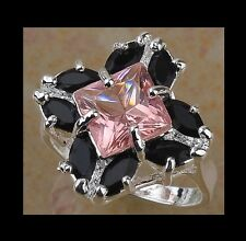 NEW - STUNNING BLACK ONYX & PINK TOPAZ WHITE GOLD FILLED RING SIZE 7