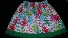 handmade clothes girl skirt christmas trees green trim size 5