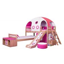 """Kids Play Girls Solid Wood """"L"""" Low Bunk bed With Slide DOMINO (made to order)"""