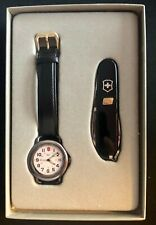 VINTAGE SWISS ARMY BRANDS Watch and Knife SET-BLACK-NEEDS BATTERY
