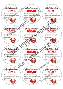Chocolate Bomb round labels, sweet bags, schools parties sheets 60mm x12