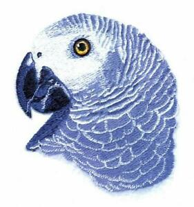 Machine Embroidered Applique African Grey Parrot Head 4.8 x 4.3 or 2.1 x 2.4
