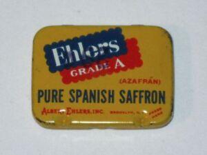 Rare 1930s EHLERS Grade A PURE SPANISH SAFFRON Hinged Advertising Spice Tin!
