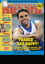 1998 AFL Football Record Carlton v St Kilda Aug 14 - 16 Blues Saints