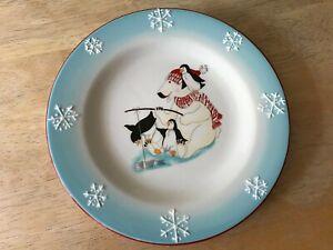 "Harry and David Christmas Holiday 2005 Polar Bear Snowflake 8"" Salad Lunch Plate"