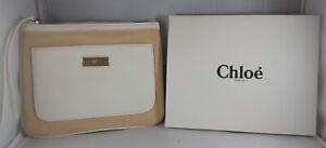 CHLOE Parfum Cosmetic, Makeup Bag,Clutch Cream NEW!  Faux Leather/Canvas