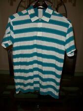used ZEGNA SPORT teal / white striped cotton s/s polo shirt size L $150
