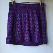 "Ibex Merino Wool Juliet Skirt, Size Xs, Purple ""Pixel Flora - African Violet�"