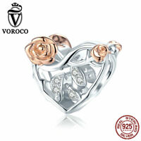 Women S925 Sterling Silver Heart with Rose Charms Fit Bracelet & Necklace VOROCO