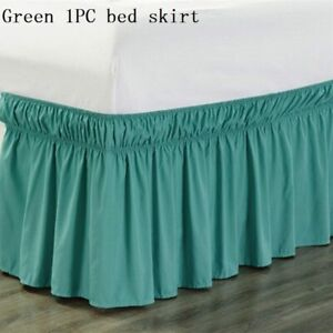1PC Bed Skirt Bedding Valance Elastic Ribbon bed Apron Home Decor Ruffled Solid