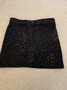 Next Girls Black Animal Print Skirt 10 Years