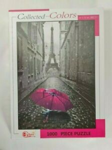 New - Collected Colors Jigsaw Puzzle Eiffel Tower Paris Black & White With Pink