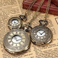 Vintage Roman Numerals Bronze Quartz Pocket Watch Pendant Necklace Chain 3 Size