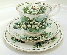 Royal Albert Flower of The Month Trio for May decorated with Lily of The Valley