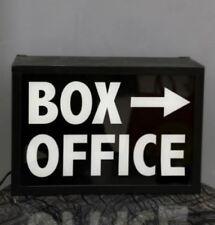 BOX OFFICE Light Up Box UK Mains Plug 240v Black White Arrow Metal Sign Retro