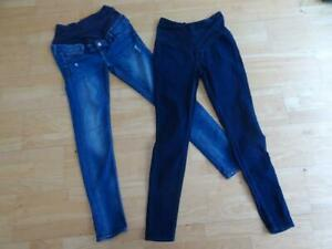 H&M ladies 2 PACK blue denim maternity skinny leg jeans UK 12 ( US 8 ) EXCELLENT
