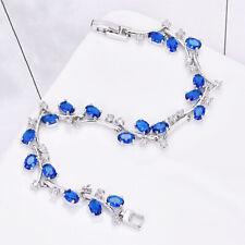 New Silver Chain Round Cut London Blue Topaz Gemstone Women Jewelry Bracelets