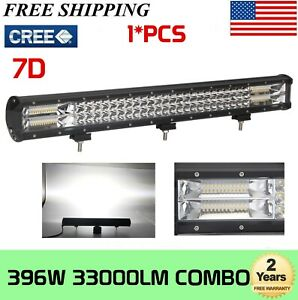 28Inch 396W Triple LED Light Bar Tri-row Combo Offroad Car Truck Driving Bumper