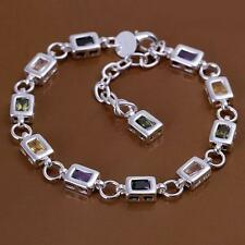 925 Sterling Silver Square Color Stone Chain Bracelet For Women Lady