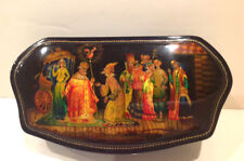 """VINTAGE RUSSIAN  FEDOSKINO LACQUER BOX W/MOTHER OF PEARL """"GOLDEN COCKEREL"""""""