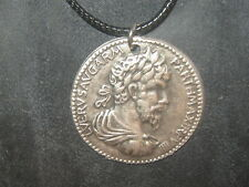REPLICA ANCIENT ROMAN CHARIOT SILVER TONE COIN PEWTER PENDANT CHARM NECKLACE