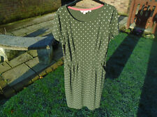 boden dress size 12 long green + ivory spotted Phoebe jersey summer dress j0148