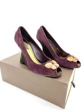 Louis Vuitton Purple Suede Butterfly Peep Toe Wedge Pumps Heels 37.5 7.5 Women