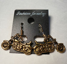 Gold Biker Chick Motorcycle Earrings Gold French Hooks FREE SHIPPING #E24