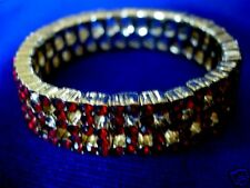 Vintage Collectible MONET Ruby Red Crystals / Rhinestones Stretch Bracelet