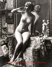 "Nude Woman Vanity Mirror 8.5x11"" Photo Print Vintage Risque Beauty Hand Raised"