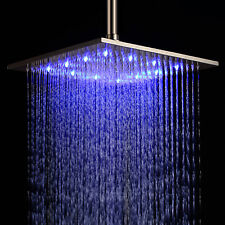"12"" Stainless Steel Shower Head Changing LED Light Color Changing Rain Bathroom"