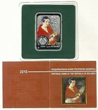 "BELARUS 20 RUBLES 2010 ""Ivan Khrutsky"" PAINTER PROOF COIN 28.28gr SILVER  +COA"