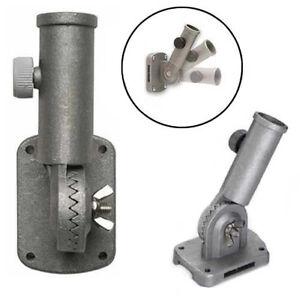 "13 Position SILVER FLAGPOLE BRACKET Cast Aluminum for 1"" Outside Diameter Pole"