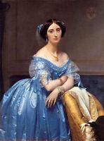 "Large Oil painting Ingres - Nice Noblelady Princess Albert de Broglie canvas 36"""