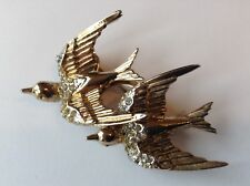 VINTAGE CORO SIGNED RHINESTONE FLYING DOVE BIRD DUETTE FUR CLIP BROOCH
