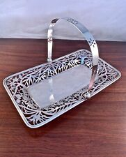 YECHING CHINESE EXPORT STERLING SILVER HANDLED BASKET TRAY - PIERCED PATTERN 10""