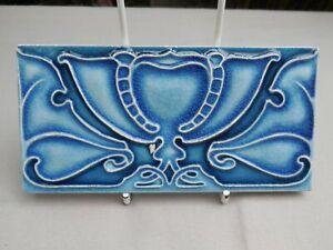 "Antique Art Nouveau Craven Dunnill & Co Relief Majolica 3"" X 6"" Tile"