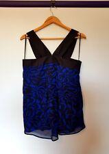 Wayne Cooper Womens Size 10 Blue Black Floral Short sleeve Blouse top