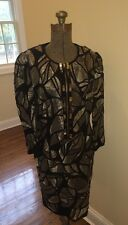 NWT ESCADA COUTURE Beaded Black and Silver Cocktail Dress Size 38