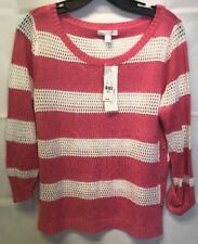 *NEW* New York & Company Knot Sweater Pink White Sz S Small MSRP $46