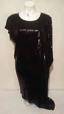 NWT $150 MICHAEL KORS Women's Black Sequins Asymetric Hem & Sleeve Dress Size L