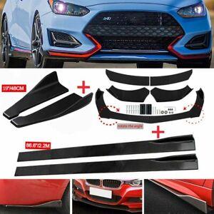 """Gloss Black Front Bumper Splitter + 86"""" Side Skirt + Rear Lip For Hyundai Accent"""