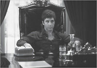 Scarface Al Pacino Large Poster Art Print Black & White in Card or Canvas