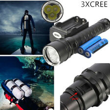 10000Lm 150M Underwater 3x XM-L2 T6 LED Scuba Diving 18650 Flashlight Torch Lamp